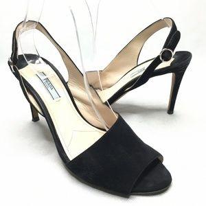 Prada Milano Slingback Black Suede Heels Peep Toe